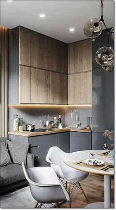 35 Small Kitchen Designs for Kitchen Remodel. Modern kitchen with wooden cabinets. 35 Small Kitchen Designs for Kitchen Remodel. Modern kitchen with wooden cabinets. Modern Kitchen Design, Interior Design Kitchen, Kitchen Decor, Kitchen Ideas, Nice Kitchen, Kitchen Tables, Interior Ideas, Best Kitchen Designs, Wooden Cupboard