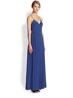 Tibi Silk Pleated Maxi Dress
