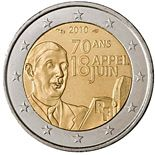 2 euro 70th Anniversary of the Appeal of June 18 by General de Gaulle - 2010 - Series: Commemorative 2 euro coins - France