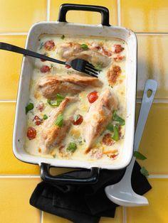Mozzarella - Hähnchen in Basilikum - Sahnesauce