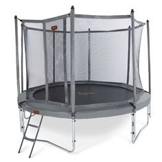 Introducing the JumpFree PROLINE PROLINE 14 Foot Trampoline With Safety Enclosure. Designed in a stylish titanium gray color, the JumpFree PROLINE is a heavy duty, high quality, all weather resistant trampoline that meets or exceed ASTM standards.
