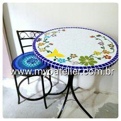 Conjunto mesa mosaico com cadeira