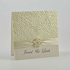 Embossed Pocket invitation to make yourself. Cream embossed wedding invitation with pearl flower Embossed Wedding