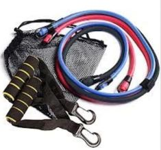 I have this set of Golds Gym Resistance Bands.  I bought them to use in the office in my cube.  These are easy to carry around in the mesh bag.  I can use these to stretch while on break.    Husband uses the Black band, I use the Red and Blue.  Picture: eBay affiliate link.