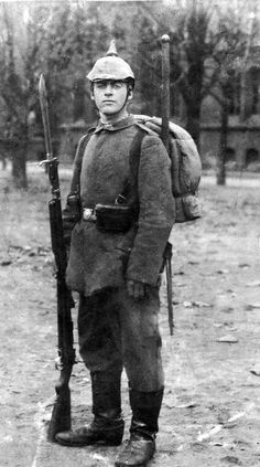 WWI German Soldier. I just read All Quiet on the Western Front, and this looks like how I pictured Paul Baumer, the main character.