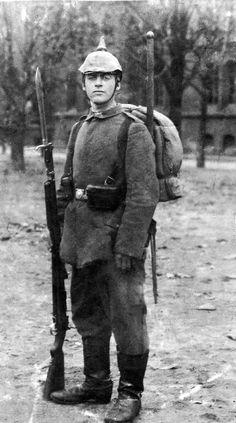 Duitse soldaat tijdens de 1e wereldoorlog.