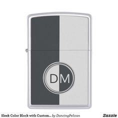 Sleek Color Block with Custom Monogram Zippo Lighter - A sleek and modern color block design featuring two-tone gray and white with reverse matching monogram frame. Edit the initials with your desired monogram for a personalized gift or treat for yourself. Sold at DancingPelican on Zazzle.