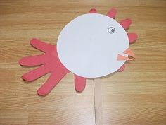 Preschool Crafts for Kids*: Chicken Puppet Handprint Craft