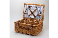 Sundowner Paddington 2 Piece Wicker Picnic Basket Lunch Outdoor Camping NEW