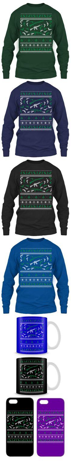 "Hunter Guns ""Ugly"" Christmas sweaters. Too funny! Ugly Sweater, Ugly Christmas Sweater, Holiday Sweaters, Christmas Shirts, Christmas Jumpers, Hockey Sweater, Golf Sweaters, Christmas Outfits, Green Sweater"