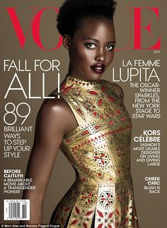 'What an honor, joy and THRILL it was to work on this October issue!' Lupita Nyong'o resembled a golden goddess clad in Valentino on her second Vogue cover, which hits newsstands next Tuesday