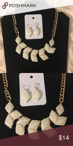 Miss classy White small statement necklace with earrings gold chain Jewelry Necklaces