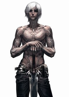 fenris from dragon age - Google Search I wish I knew who drew this, because I'd love to give them credit. It's awesome. And I think I recognize the mod used on his lyrium tattoos!