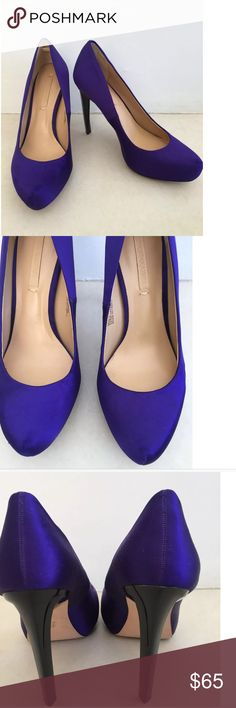 BCBG Max Azria Skyla Satin Platform Pumps Heels Skyla Purple Platform Heels  Pointed Toe   Satin Upper  Leather Sole  Heel Height 4-1/2  Platform Height 3/4  Size 9   Please let me know if you have any questions.  Thank you for looking!!!!!!! BCBGMaxAzria Shoes Platforms