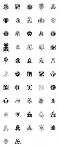 Intellecta Monograms - A mix and mash of various different decorative letter designs. Very diverse and grea...