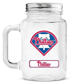 Philadelphia Phillies Mason Jar Glass With Lid