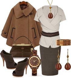 """Camel Cape & Brown Skirt"" by ldumperth on Polyvore"