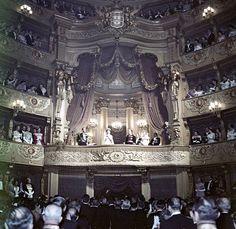 An Opera Gala in honor of Elizabeth II at São Carlos Theatre. Lisbon, Portugal, 1957.
