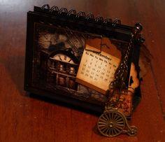 A Dellamortika steampunk Desk Calendar sample page. Steampunk Desk, Desk Calendars, Projects, Handmade, Desktop Calendars, Log Projects, Blue Prints, Hand Made, Desk Pad Calendar
