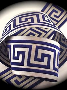 Woven Jacquard Ribbon Greek Key Trim - 1 x 1 yard Lt. Navy on Silver/Creamy Gray Renaissance Fashion, Greek Key, Pantone Color, Traditional House, Ribbon, Yard, Trending Outfits, Etsy, Silver