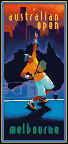 Open d'Australie tennis sports art affiche par ScottDawsonArtPrints