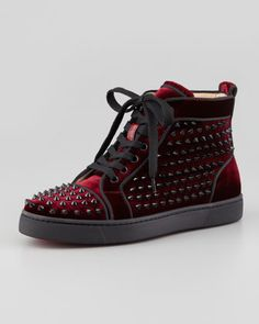 Louis Orlato Spiked High-Top Sneaker, Rouge by Christian Louboutin at Neiman Marcus.