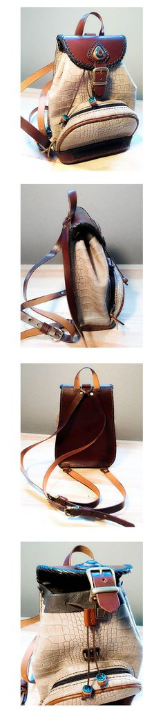 mochila de cuero pequeña, hecha a mano. #backpack #mochila #handmade #handcrafted #handsewn #leather #leatherwork #spanishlace #leather #stone #leathercraft #cuero #marroquineria