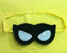 Artículos similares a Set de 5 Crochet máscaras dormidas sueño buho Surtidos colores 6x3inch 100% algodón hilado franja orejas banda elástica - reservado para Amy Peake en Etsy