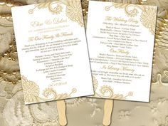 """Lace Wedding Program Fan Template - Gold Wedding Program Printable - Order of Service """"Luna Lace"""" Order of Ceremony Instant Download by PaintTheDayDesigns on Etsy"""
