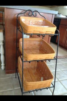 Large Floor Standing Wrought Iron Basket Set