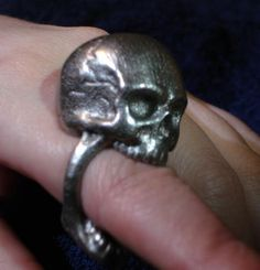 Skull Ring size 11 by Eeppium on Shapeways, the 3D printing marketplace
