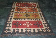 Hand Woven Rug Turkish Kilim Dhurrie Persian Oriental Area Rug 5x8 Feet #silkgramexports #Kilim