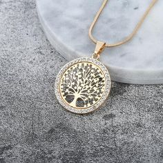 Hot Tree of Life Crystal Round Small Pendant Necklace Gold Silver Colors Bijoux Collier Elegant Women Jewelry Gifts - Cute real 925 silver fashion Necklace white gold plated. Shop for handmade jewelry gifts for mother daughter wife husband. Gold Pendant Necklace, Metal Necklaces, Crystal Necklace, Jewelry Necklaces, Custom Necklaces, Necklace Chain, Necklaces For Women, Antique Necklace, Gold Choker