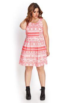 Linen-Blend Tribal Print Dress   FOREVER21 PLUS - 2000137543