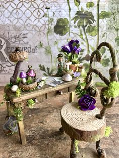 Your place to buy and sell all things handmade Fairy Garden Furniture, Fairy Garden Houses, Big Garden, Garden Art, Garden Design, Garden Ideas, Potting Benches, Garden Benches, Clay Fairies