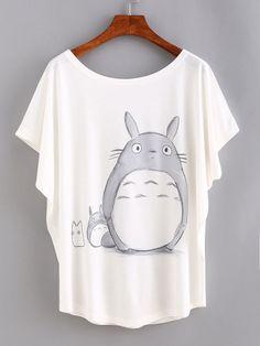 Cartoon Print Bat Sleeve T-shirt