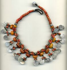 Silver, coral and old amber Berber necklace  |