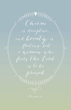 Charm is deceptive Proverbs 3130 by DropsofHoneyDesign on Etsy