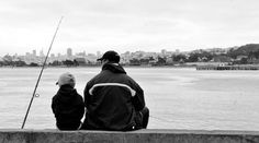 From dad to son, the art of fishing.