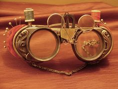 The Whole 9 Yards Goggles                                -   as a textile artist I LOVE this!  #goggles  #steampunk  #sewing