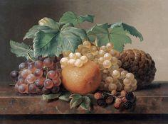 Натюрморт с виноградом, ежевикой и ананасом / Йохан Лоренц Дженсен - Johan Laurentz Jensen