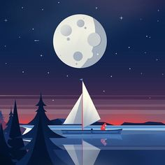 When the moon hits your eye@calvinsprague Fox on a Boat is our current amore.  For your chance to be featured tag @greatlittleartists or  #greatlittleartists #behance #dribbbler #dribbble #creative #illustration #illustrationart