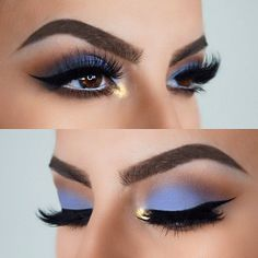"Gorgeous blue shadow look by IG @ izzyglam! Use NYX Cosmetics Nude Matte Shadow in ""Voyeur,"" to recreate this look!"