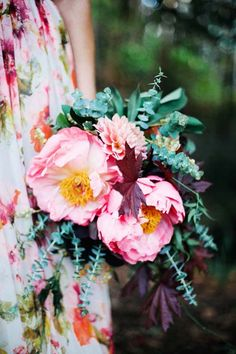 Pink fluffy peonies & linear eucalyptus - love the different shapes. Photography ~ Britt Spring