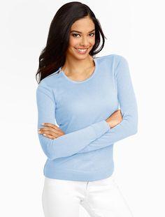 Merino Zip-Shoulders Sweater, Blue #Talbots