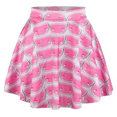 Pink Watermelon Printed Sexy Chic Ladies Pleated Skirt ($7.79) ❤ liked on Polyvore featuring skirts, bottoms, gonne, lullabies, pink, pink pleated skirt, knee length pleated skirt, pink skirt, pleated skirt and sexy skirts