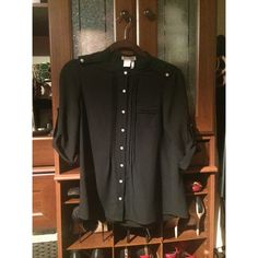 Black woven top - Small ▪️Black woven top.   ▪️Silver buttons.   ▪️100% polyester Tops