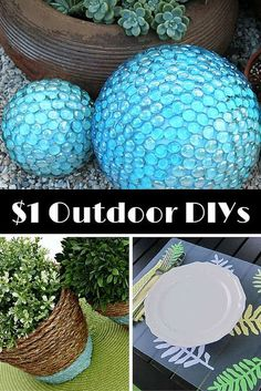 Accomplish all of these great outdoor DIY projects for 1 dollar or less! Accomplish all of these great outdoor DIY projects for 1 dollar or less! Accomplish all of these great outdoor DIY projects for 1 dollar or less! Diy Garden Projects, Garden Crafts, Diy Garden Decor, Garden Art, Garden Decorations, Glass Garden, Water Garden, Diy Outdoor Decorations, Garden Hose