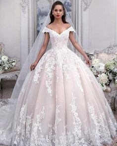 Off the shoulder ball gown tulle wedding dress with appliqués, princess wedding dress € - SchickeAbendKleider.de - Off the shoulder ball gown tulle wedding dress with applique, princess wedding dress - Pink Wedding Dresses, Princess Wedding Dresses, Tulle Wedding, Bridal Dresses, Bridesmaid Dresses, Light Pink Wedding Dress, Prom Dresses, Mermaid Wedding, Party Wedding