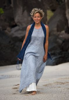Seaside clothing: blue linen gauze summer tunic
